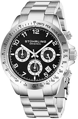 ストゥーリングオリジナル 腕時計 メンズ 665BZ.01 Quartz Chronograph Mens Watch by Stuhrling Original with Black, Blue or Silver Dial. Solid Stainless Steel Watch Bracelet. Deployant Clasp. 50 Meter Waterストゥーリングオリジナル 腕時計 メンズ 665BZ.01