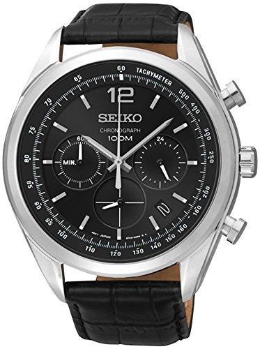 セイコー 腕時計 メンズ SSB097P1 【送料無料】Seiko SSB097 Mens Watch Chronograph Stainless Steel Case Black Leather Strapセイコー 腕時計 メンズ SSB097P1