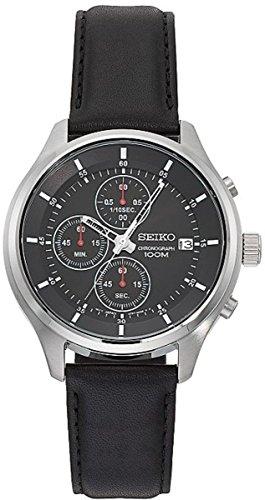 セイコー 腕時計 メンズ SKS547 Seiko SKS547 Men's Leather Band Black Dial Date Chronograph Sports Watchセイコー 腕時計 メンズ SKS547