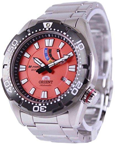 オリエント 腕時計 メンズ 【送料無料】Orient M-Force Bravo Automatic Orange Dive Watch with Power Reserve Meter EL0A003Mオリエント 腕時計 メンズ