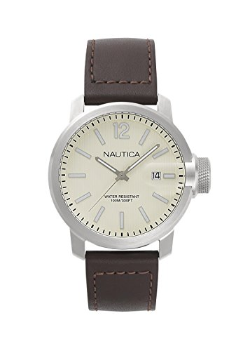 ノーティカ 腕時計 メンズ NAPSYD003 Nautica Men's Sydney Stainless Steel Japanese-Quartz Watch with Leather Calfskin Strap, Brown, 22 (Model: NAPSYD003ノーティカ 腕時計 メンズ NAPSYD003