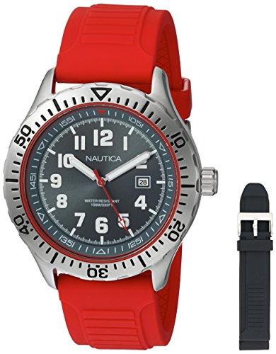ノーティカ 腕時計 メンズ NAD14004G Nautica Men's NSR 105 Box Set Stainless Steel Quartz Watch with Silicone Strap, Black, 22 (Model: NAD14004Gノーティカ 腕時計 メンズ NAD14004G