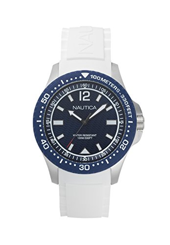 ノーティカ 腕時計 メンズ NAPMAU004 Nautica Men's Maui Stainless Steel Japanese-Quartz Watch with Silicone Strap, White, 22 (Model: NAPMAU004ノーティカ 腕時計 メンズ NAPMAU004