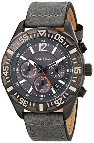 ノーティカ 腕時計 メンズ N18720G Nautica Men's N18720G NST 402 Gray Leather Chronograph Watchノーティカ 腕時計 メンズ N18720G