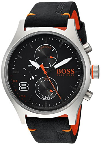 ヒューゴボス 高級腕時計 メンズ 1550020 HUGO BOSS Men's Amsterdam Stainless Steel Quartz Watch with Leather Calfskin Strap, Black, 22 (Model: 1550020)ヒューゴボス 高級腕時計 メンズ 1550020