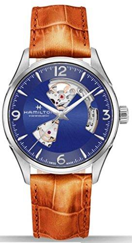 ハミルトン 腕時計 メンズ Hamilton H32705541 Men's 'Jazzmaster' Open Hearts Blue Dial Brown Leather Strapハミルトン 腕時計 メンズ