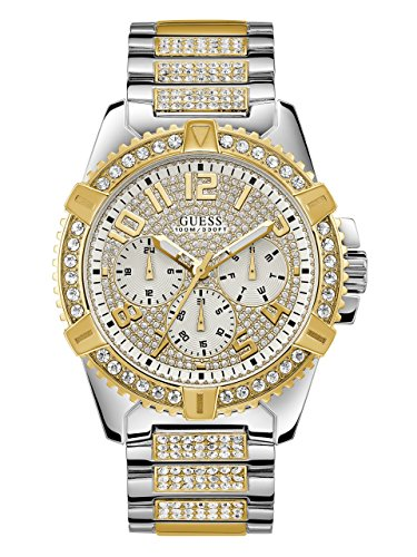 ゲス GUESS 腕時計 メンズ U0799G4 【送料無料】GUESS Stainless Steel + Gold-Tone Crystal Embellished Bracelet Watch with Day, Date + 24 Hour Military/Int'l Time. Color: Silver + Gold-Tone (Model: U0799G4)ゲス GUESS 腕時計 メンズ U0799G4