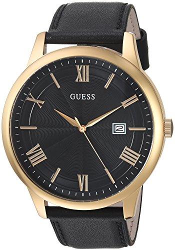 ゲス GUESS 腕時計 メンズ U0972G2 【送料無料】GUESS Oversized Classic Black Genuine Leather Watch with Date. Color: Black/Gold-Tone (Model: U0972G2)ゲス GUESS 腕時計 メンズ U0972G2