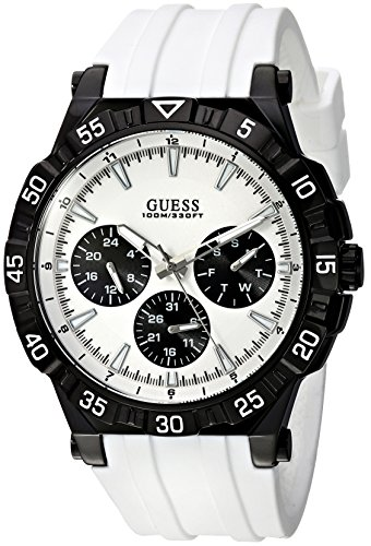 ゲス GUESS 腕時計 メンズ U0966G3 GUESS Men's Stainless Steel Quartz Watch with Silicone Strap, White, 25 (Model: U0966G3ゲス GUESS 腕時計 メンズ U0966G3