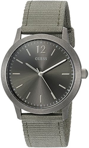 ゲス GUESS 腕時計 メンズ U0976G3 GUESS Men's Stainless Steel Quartz Watch with Nylon Strap, Green, 20 (Model: U0976G3)ゲス GUESS 腕時計 メンズ U0976G3