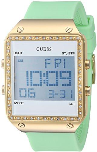 ゲス GUESS 腕時計 レディース U0700L4 GUESS Women's Stainless Steel Analog-Quartz Watch with Silicone Strap, Green, 24 (Model: U0700L4ゲス GUESS 腕時計 レディース U0700L4