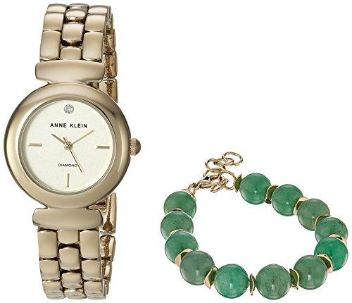 アンクライン 腕時計 レディース AK/2850JADE Anne Klein Women's AK/2850JADE Diamond-Accented Gold-Tone Watch and Jade Beaded Bracelet Setアンクライン 腕時計 レディース AK/2850JADE