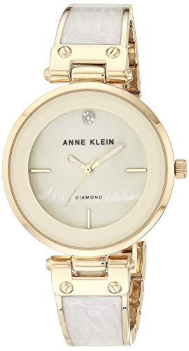 アンクライン 腕時計 レディース AK/2512IVGB 【送料無料】Anne Klein Women's AK/2512IVGB Diamond-Accented Dial Gold-Tone and Ivory Bangle Watchアンクライン 腕時計 レディース AK/2512IVGB