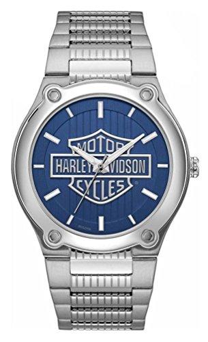 腕時計 ブローバ メンズ 76A159 【送料無料】Harley-Davidson Men's Blue Patterned Bar & Shield Stainless Steel Watch 76A159腕時計 ブローバ メンズ 76A159