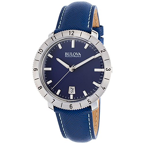 ブローバ 腕時計 メンズ 96B204 【送料無料】Bulova Accutron II Moonview Blue Leather and Dial Watchブローバ 腕時計 メンズ 96B204