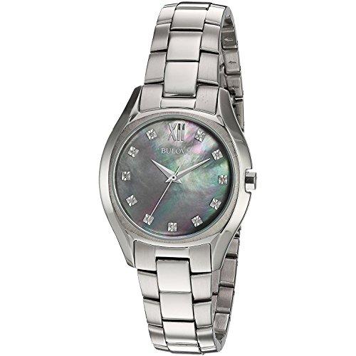 ブローバ 腕時計 レディース 96P158 【送料無料】Bulova 96P158 Black MOP Diamond Dial Stainless Steel Quartz Dress Women's Watchブローバ 腕時計 レディース 96P158