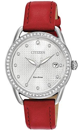 シチズン 逆輸入 海外モデル 海外限定 アメリカ直輸入 FE6110-04A 【送料無料】Citizen Women's 'Drive' Quartz Stainless Steel and Leather Casual Watch, Color:Red (Model: FE6110-04A)シチズン 逆輸入 海外モデル 海外限定 アメリカ直輸入 FE6110-04A