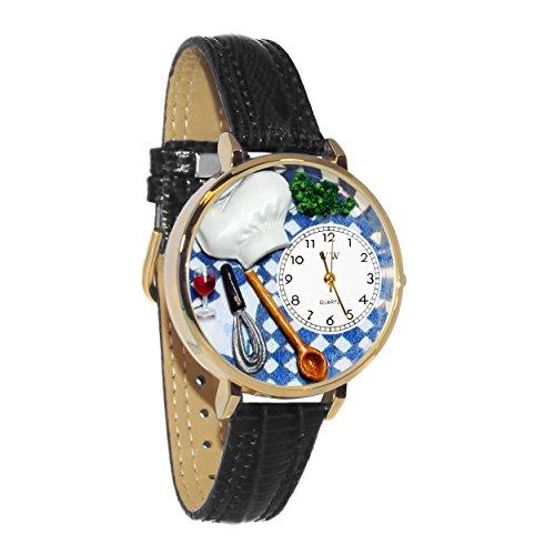 気まぐれな腕時計 かわいい プレゼント クリスマス ユニセックス 【送料無料】Chef Black Skin Leather and Goldtone Watch #WG-G0310002気まぐれな腕時計 かわいい プレゼント クリスマス ユニセックス