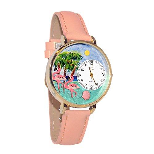 気まぐれな腕時計 かわいい プレゼント クリスマス ユニセックス Flamingo Pink Leather and Goldtone Watch #WG-G0150001気まぐれな腕時計 かわいい プレゼント クリスマス ユニセックス