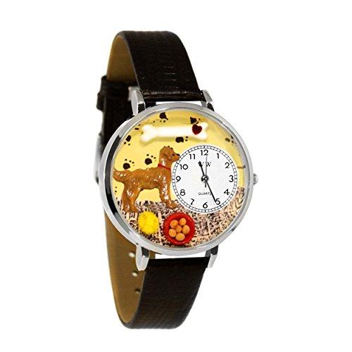 気まぐれな腕時計 かわいい プレゼント クリスマス ユニセックス WHIMS-U0130042 【送料無料】Whimsical Watches Unisex U0130042 Golden Retriever Black Skin Leather Watch気まぐれな腕時計 かわいい プレゼント クリスマス ユニセックス WHIMS-U0130042