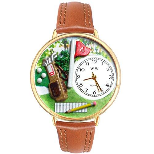 気まぐれな腕時計 かわいい プレゼント クリスマス ユニセックス 【送料無料】Golf Bag Tan Leather and Goldtone Watch #WG-G0810002気まぐれな腕時計 かわいい プレゼント クリスマス ユニセックス