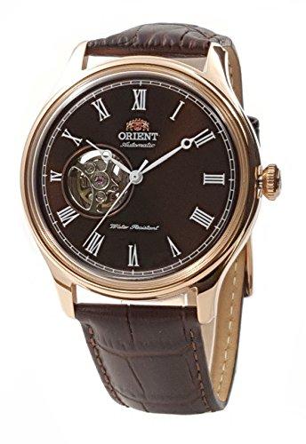 オリエント 腕時計 メンズ 【送料無料】ORIENT 'Envoy' Classic Automatic Open Heart Roman Rose Gold Watch Brown AG00001Tオリエント 腕時計 メンズ