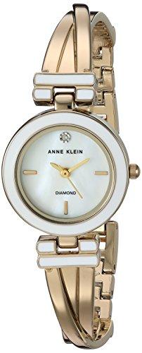 アンクライン 腕時計 レディース AK/2622WTGB Anne Klein Women's AK/2622WTGB Diamond-Accented Gold-Tone Crossover Bangle Watchアンクライン 腕時計 レディース AK/2622WTGB