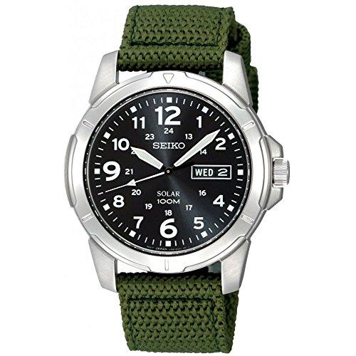 セイコー 腕時計 メンズ SNE095P2 【送料無料】Seiko Stainless Steel Solar Quartz Black Dial Green Nylon Strapセイコー 腕時計 メンズ SNE095P2
