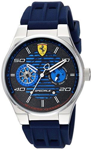 フェラーリ 腕時計 メンズ 830430 Ferrari Men's Speciale Stainless Steel Quartz Watch with Rubber Strap, Blue, 25 (Model: 830430フェラーリ 腕時計 メンズ 830430
