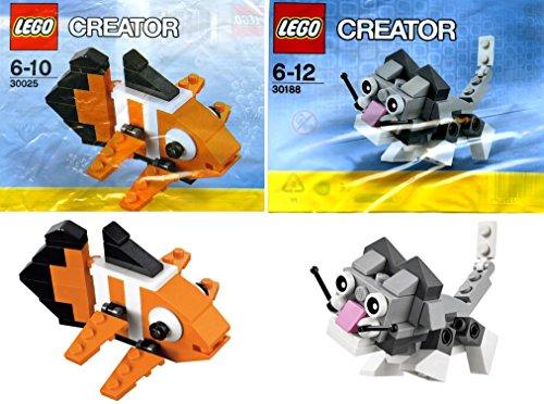レゴ クリエイター LEGO Creator Mini Pets Collection 2-Set Bundle: Cute Kitten 30188 & Clown Fish 30025 (bagged)レゴ クリエイター
