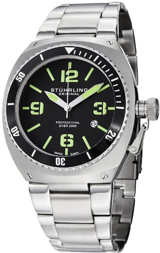 ストゥーリングオリジナル 腕時計 メンズ 410.331171 Stuhrling Original Men's 410.331171 Aquadiver Regatta DSV Swiss Quartz Diver Date Green Accent Stainless Steel Bracelet Watchストゥーリングオリジナル 腕時計 メンズ 410.331171