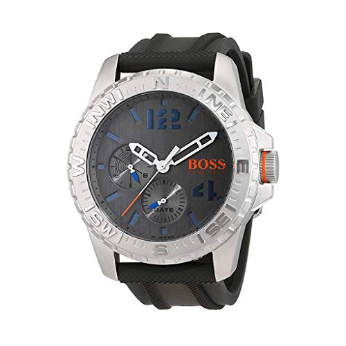 ヒューゴボス 高級腕時計 メンズ 1513412 HUGO BOSS Men's Reykjavik Stainless Steel Analog-Quartz Watch with Rubber Strap, Grey, 24 (Model: 1513412ヒューゴボス 高級腕時計 メンズ 1513412