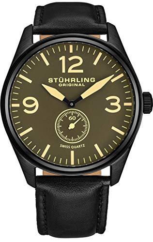 腕時計 ストゥーリングオリジナル メンズ 931.02 【送料無料】Stuhrling Original Men's 931.02 Aviator Seconds Subdial Watch With Black Leather Band mf腕時計 ストゥーリングオリジナル メンズ 931.02
