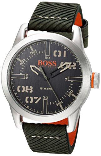 ヒューゴボス 高級腕時計 メンズ 1513415 【送料無料】HUGO BOSS Men's Oslo Stainless Steel Quartz Watch with Leather Calfskin Strap, Green, 22 (Model: 1513415)ヒューゴボス 高級腕時計 メンズ 1513415