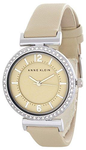 アンクライン 腕時計 レディース Anne Klein Women's Beige Dial Crystals Bezel Beige Leather Strap Watch AK/2609TNTNアンクライン 腕時計 レディース