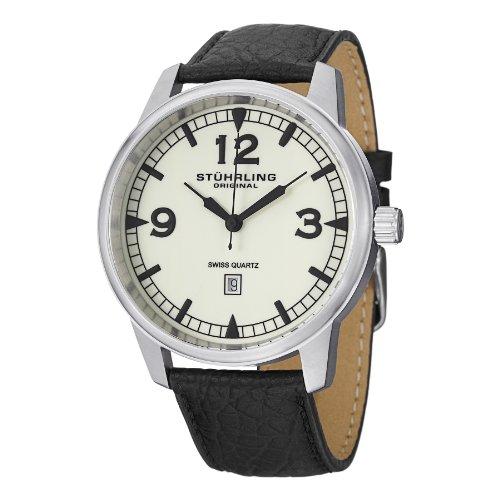 ストゥーリングオリジナル 腕時計 メンズ 1129Q.02 Stuhrling Original Men's 1129Q.02 Condor Stainless Steel Watch with Black Leather Bandストゥーリングオリジナル 腕時計 メンズ 1129Q.02