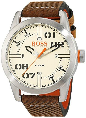 腕時計 ヒューゴボス 高級メンズ 1513418 【送料無料】HUGO BOSS Men's Oslo Stainless Steel Quartz Watch with Leather Calfskin Strap, Brown, 22 (Model: 1513418)腕時計 ヒューゴボス 高級メンズ 1513418