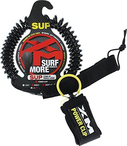 サーフィン リーシュコード マリンスポーツ 【送料無料】Surf More XM Stand-Up Paddle SUP Power-Clip Coiled Regular Black Ankle Leash - 9'サーフィン リーシュコード マリンスポーツ