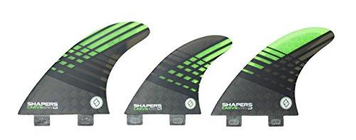 サーフィン フィン マリンスポーツ 【送料無料】Shapers Fins Carbon Hybrid Carv'n Series 6 Fin Set (Green (Medium Large), FCS)サーフィン フィン マリンスポーツ