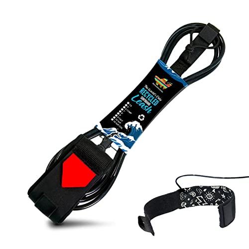 サーフィン リーシュコード マリンスポーツ 【送料無料】7 Shortboard Leash - Surf Leashes Premium Eco 7FT Surfing Leash - Double Stainless Steel Swivels and Triple Rail Saver - Key Pocket (Black, 7 Foot Surサーフィン リーシュコード マリンスポーツ