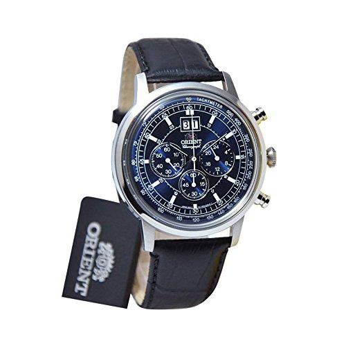 オリエント 腕時計 メンズ FTV02003D0 Orient Men's 45mm Black Leather Band Steel Case Quartz Blue Dial Analog Watch FTV02003D0オリエント 腕時計 メンズ FTV02003D0