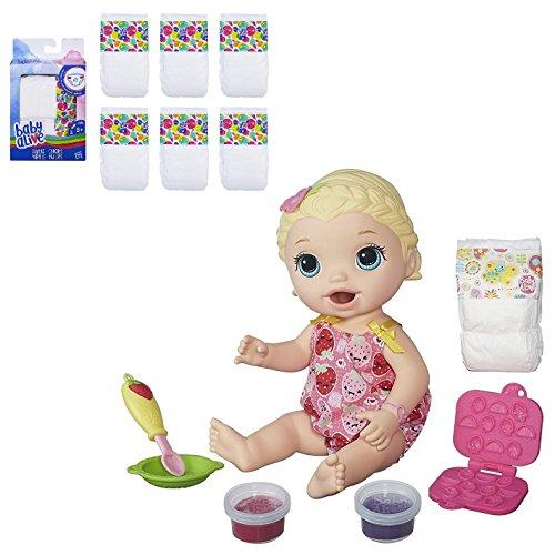 ベビーアライブ 赤ちゃん おままごと ベビー人形 Baby Alive Super Snacks Snackin' Lily (Blonde) with Bonus 6-Pack Diapers Setベビーアライブ 赤ちゃん おままごと ベビー人形