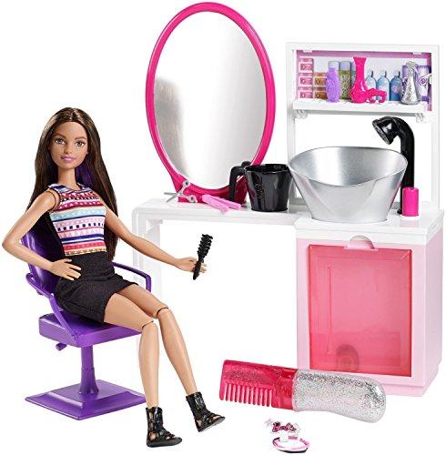 バービースパークルスタイルサロン 美容院 プレイセット ブルネット DMM65 バービー人形の髪を染めたりシャンプーできる