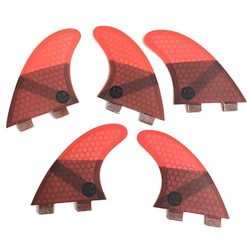 サーフィン フィン マリンスポーツ 夏のアクティビティ特集 UPSURF Surfboard Fins FCS K2.1 Honeycomb+Fiberglass 5 fins Thruster+Quad Set (Red)サーフィン フィン マリンスポーツ 夏のアクティビティ特集