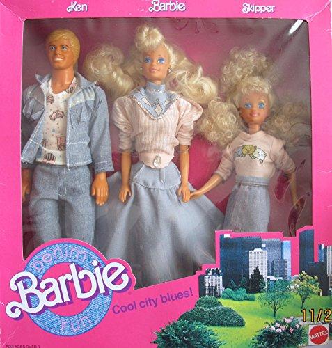 バービー バービー人形 チェルシー スキッパー ステイシー Barbie Denim Fun Cool City Blues 3 Doll Set w Ken, BARBIE & Skipper Dolls (1989 Mattel Hawthorne)バービー バービー人形 チェルシー スキッパー ステイシー