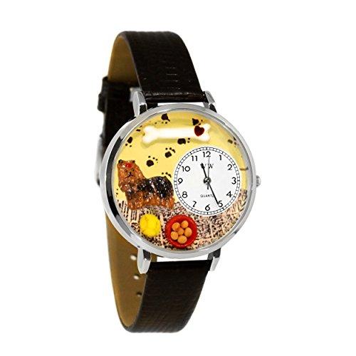 気まぐれな腕時計 かわいい プレゼント クリスマス ユニセックス 【送料無料】Yorkie Black Skin Leather and Silvertone Watch #WG-U0130077気まぐれな腕時計 かわいい プレゼント クリスマス ユニセックス