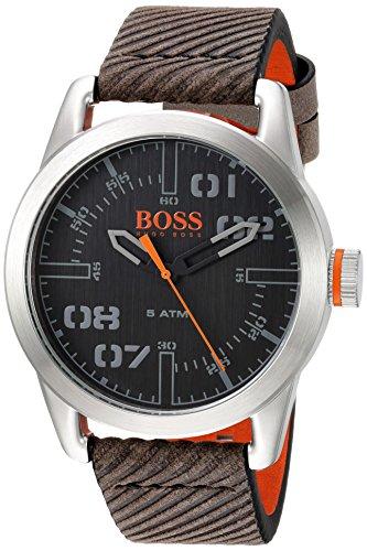ヒューゴボス 高級腕時計 メンズ 1513417 【送料無料】HUGO BOSS Men's Oslo Stainless Steel Quartz Watch with Leather Calfskin Strap, Grey, 22 (Model: 1513417)ヒューゴボス 高級腕時計 メンズ 1513417