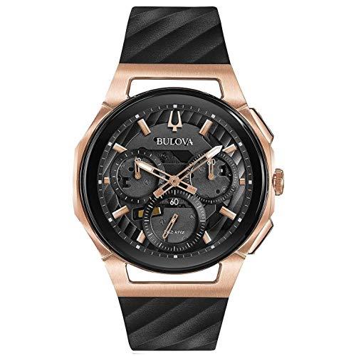 ブローバ 腕時計 メンズ 98A185 Men's Bulova Curv Chronograph Rose Gold-Tone Black Rubber Strap Watch 98A185ブローバ 腕時計 メンズ 98A185