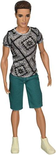 バービー バービー人形 ファッショニスタ 日本未発売 Mattel Year 2014 Barbie Ken Fashionistas Series 12 Inch Doll - RYAN (BCN42) with Grey T-Shirt, Green Short Denim Pants and White Basketball Shoesバービー バービー人形 ファッショニスタ 日本未発売