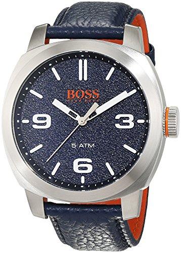 ヒューゴボス 高級腕時計 メンズ 1513410 HUGO BOSS Men's Cape Town Stainless Steel Quartz Watch with Leather Calfskin Strap, Blue, 22 (Model: 1513410ヒューゴボス 高級腕時計 メンズ 1513410